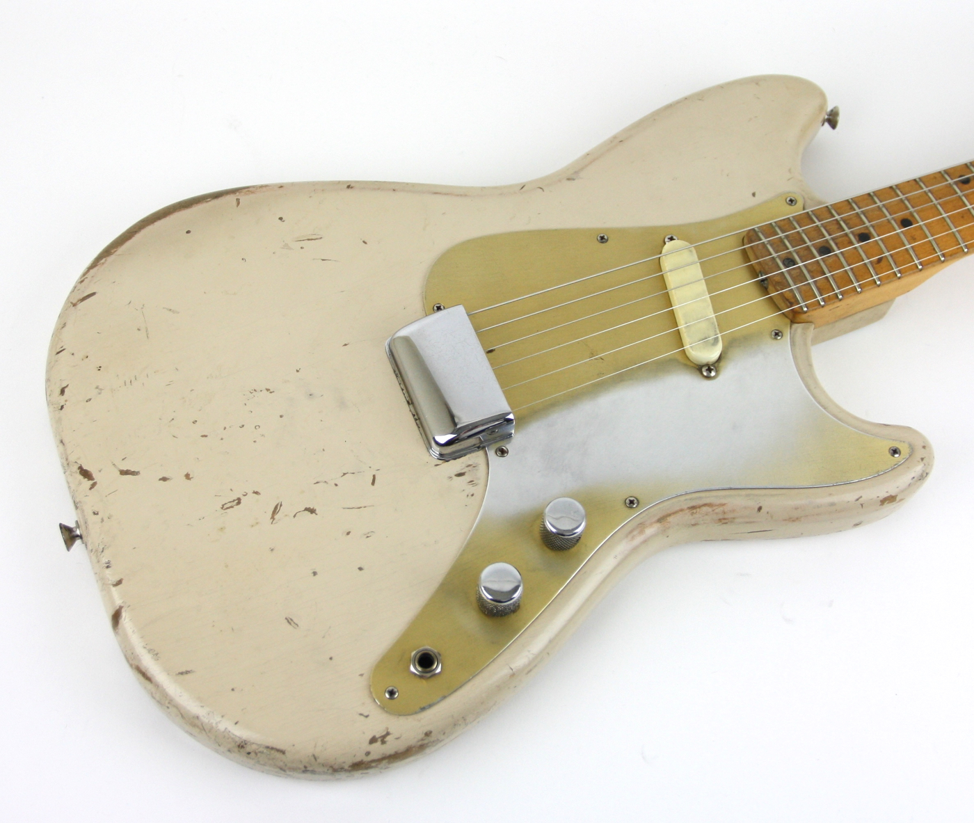 1957 Fender Musicmaster Gold Guard Worn detail 1